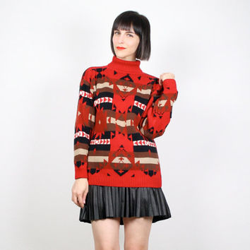 Vintage Red Black Brown Sweater Southwestern Sweater Cosby Sweater Jumper Navajo Knit Pullover South Western Ethnic Boho Knit S M Medium