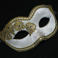 Masquerade Mask in White and Gold with Velvet and Lace Accents