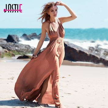 Jastie Stretchy Hollow Waist Deep V-Neck Maxi Dresses Backless Halter Neck with Tassel Tie Sexy Dress Summer Boho Beach Vestidos