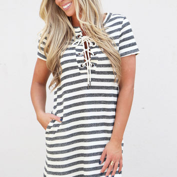 Good Vibes Striped Dress {Blk/Ivory}