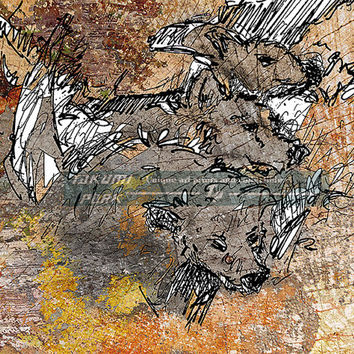 Grey Wolf Cubs Art Print, Modern Animal Art Print, Bedroom Decor, Living Room Decor, Wolves Artwork,Wildlife Art, Nature Art Print