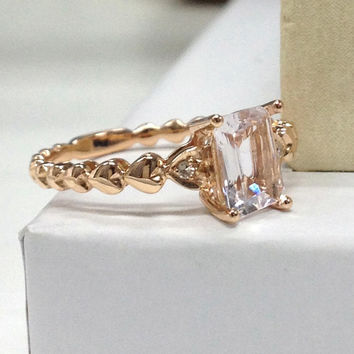 NEW DESIGN!Morganite Engagement Ring 14K Rose Gold!Diamond Wedding Bridal Ring,6x8mm Emerald Cut,Filigree,Can make matching band,Promise