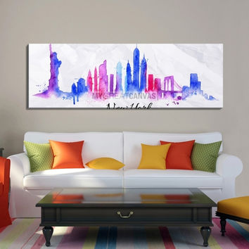 Large Wall Art Watercolor Blue and Purple New York City Skyline Canvas Print