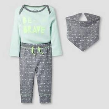 Baby 3 Piece Brave Set Baby Cat & Jack™ - Mint/Heather Grey