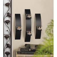 Black Wall Candle Holder Accent Set