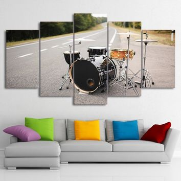 5pcs Piece Canvas Art Music Drum Painting Street Singing Wall Pictures Modular Painting for Decor Living Room (No Frame)