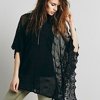 Free People Womens Suzie Sheer Lace Poncho