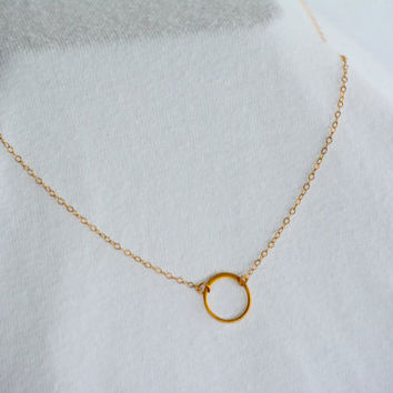 Simple Gold Circle Charm Necklace