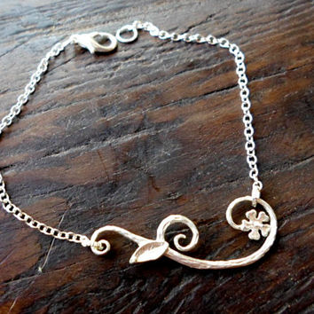 SPECIAL PRICE Flower bracelet - Wedding Jewelry - Bridal - Gift for - Minimalist -sterling silver 925-hight quality-infinity