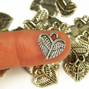 10 Pcs - 13x13mm Tiny Tibetan Heart Wings Charms - Tiny Charms - Jewelry Supplies