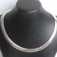 Italian Omega Chain Necklace Sterling Silver Choker Length Collar Vintage