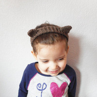 Crochet Cat Ears Headband in Brown, MADE TO ORDER.