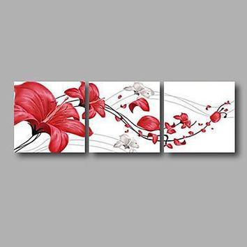 "Ready to Hang Stretched Hand-painted Oil Painting 72""x24"" Three Panels Canvas Wall Art Red Roses Flowers"