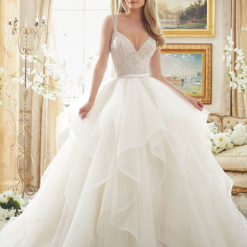 Beaded Bodice on Flounced Tulle and Organza | Style 2887 | Morilee