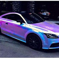 "HOHO Holographic Rainbow Neo Chrome Car Vinyl Wrap Bubble Free Sticker Film 54""x20"" (White)"
