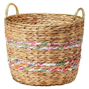 Lilly Pulitzer for Target Woven Basket with Fabric Bands and Gold Rim - 17""
