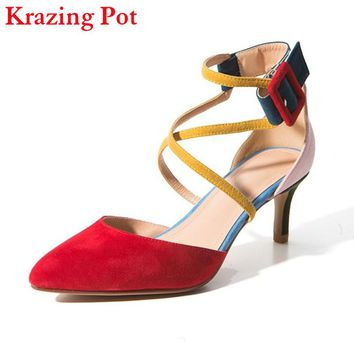 Fashion Brand Autumn Shoes Pointed Toe High Heel Mixed Colors Ankle Strap Buckle Women Pumps Sheep Suede Office Lady Sandals L30