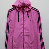 Vintage ADIDAS Hooded Zipper Jacket Windbreaker Pink Color Size L