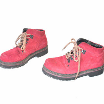 size 8.5 RED leather hiking boots / early 90s grunge CHUNKY platform LUG sole ankle booties
