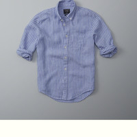 Garment Dye Stripe Linen Shirt