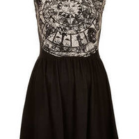 Zodiac Print Skater Dress - Dresses  - Clothing