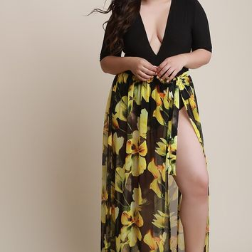 Floral Mesh Self-Tie Cover Up Maxi Skirt