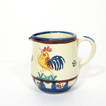 Vintage Pottery Pitcher Hand Painted Rooster Italy