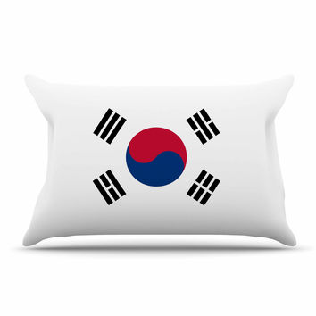"Bruce Stanfield ""Flag of Korea"" White Digital Pillow Sham"