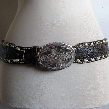 Vintage 80s Leather Belt Tooled Tony Lama 80s Brown Acorn Woven Stitch Silver Buckle Belt 36 Small