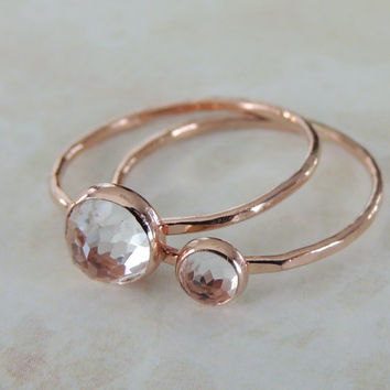 Mother Daughter Ring Set, Mothers Day Ring, White Topaz Gold Rings, Gift Set, Gift Idea for Mom, Graduation Gift, Minimal Jewelry
