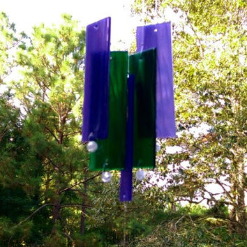 Illume Studio Handmade Stained Glass Wind Chime with Texas Driftwood