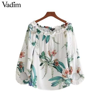 Vadim women sexy slash neck floral shirts sweet ruffles lantern sleeve loose blouse ladies fashion casual tops blusas LT2625