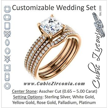 CZ Wedding Set, featuring The Isidora engagement ring (Customizable Asscher Cut Center with Wide Triple Pavé Band)
