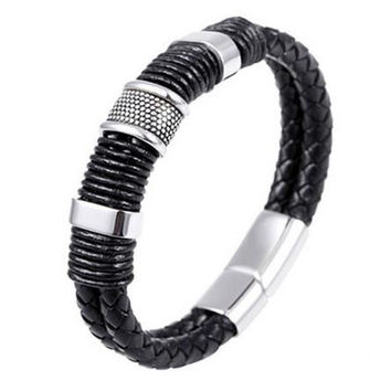 men stainless steel leather braid Bracelet with magnetic buckle   leather bracelet SM6