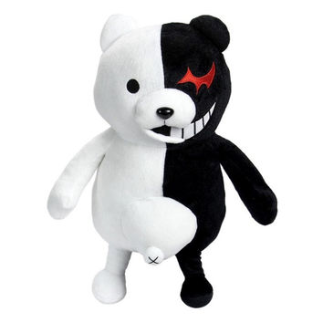 25cm Cute Cartoon Dolls Dangan Ronpa Monokuma Doll Plush Toys Black White Bear Top Quality Kids Toys Child Birthday Present
