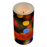 Multicolored Christmas lights. Add text or name. Flameless Candle