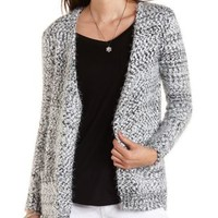Fuzzy Slub Knit Open Front Cardigan by Charlotte Russe - Ivory Combo