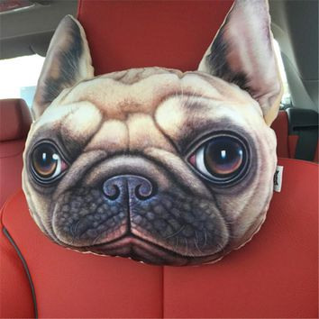 Headrest Cat Dog emoji Shape Sofa Cushion Toy Doll Car Travel Headrest Gift Birthday Wedding Home Chair neck Pillow Head Rest