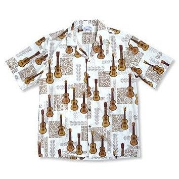 Ukulele Madness White Hawaiian Cotton Aloha Shirt