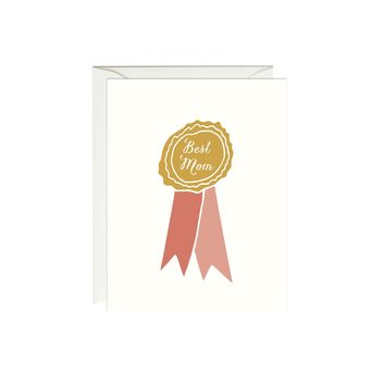 Best Mom Ribbon Card (Gold Foil)
