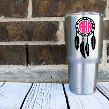 Dream Catcher Monogram Decal - Custom Decal - Boho Tribal- Yeti Decal - Car Decal - Any Size - Any Color - Glitter - Custom Sticker - Vinyl