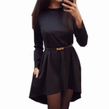 newest 2015 plus size 4 color women casual solid dress popular long sleeve O-neck loose autumn winter dress without belt Q0074B