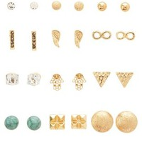 Gold Mixed Media Stud Earrings - 12 Pack by Charlotte Russe