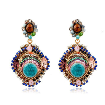Boho Crystal Drop Earrings