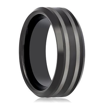 Aydins Tungsten Mens Wedding Band Black Double Line Laser Engraved 8mm Tungsten Carbide Ring