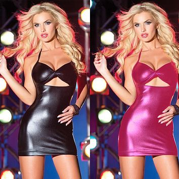 Women Fashion Patent Leather Sleeveless Backless Hollow Halter Tight Mini Dress