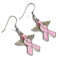 Pink Ribbon Angel Enamel Charm Earrings - Breast Cancer Awareness Ribbon - Survivor Ribbon Charm Earrings - Womens Earrings