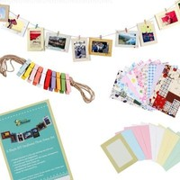 "Bundle Monster Wall Deco DIY Paper Photo Frame with Mini Clothespins and Stickers - Fits 4""x 6"" Pictures (1, Multi-color)"
