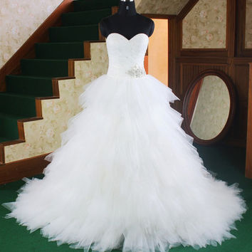 Tulle Over Satin Ball Gown Sweep/ Brush Train Tiered Wedding Dress