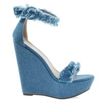 Vivi70 Blue Jean Denim By Breckelle's, Frayed Frizzy Trimming, High Platform Wedge Sandal w Ankle Strap